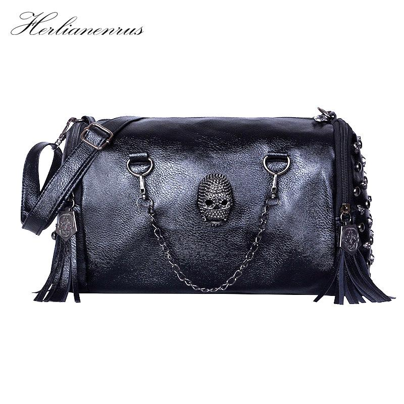 Herlianenrus Women Handbags 2018 New Fashion Autumn Skull Punk Chains Rivet Tassel Sequined PU Leather Crossbody Bag LMT0044