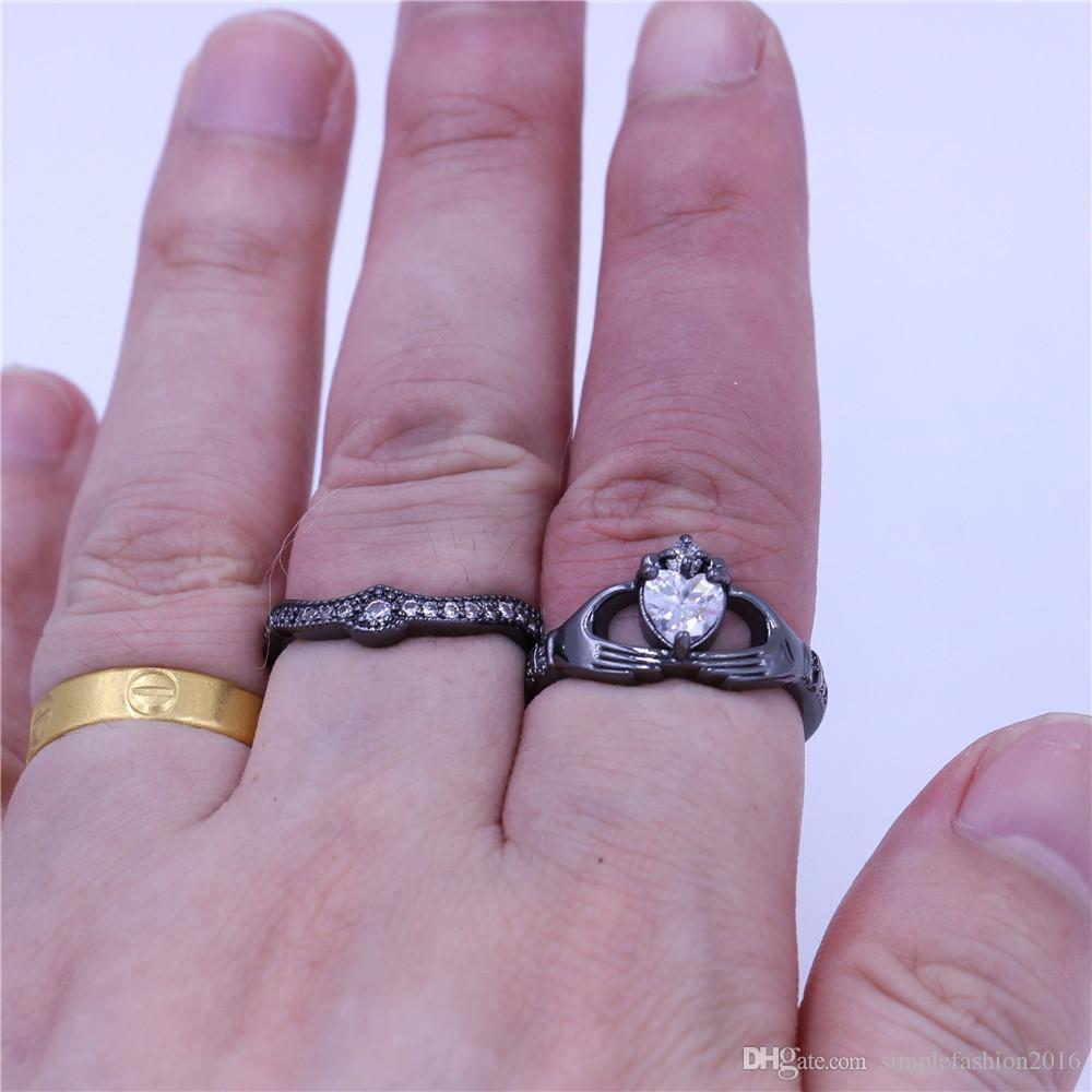Moda claddagh anillo de la joyería anillos de la venda de boda fijado para las mujeres 5A Zircon Cz negro Gold Filled partido femenino del anillo de regalo de cumpleaños