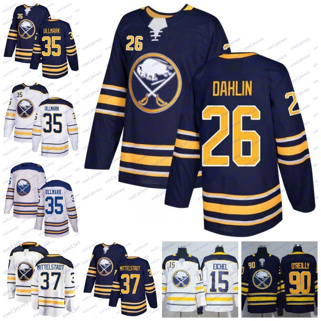 2019 2018 Buffalo Sabres 26 Rasmus Dahlin 37 Casey Mittelstadt 35 Linus  Ullmark Draft Hockey Jerseys White Navy Blue Stitched From Cooljersey 458ffd0e3