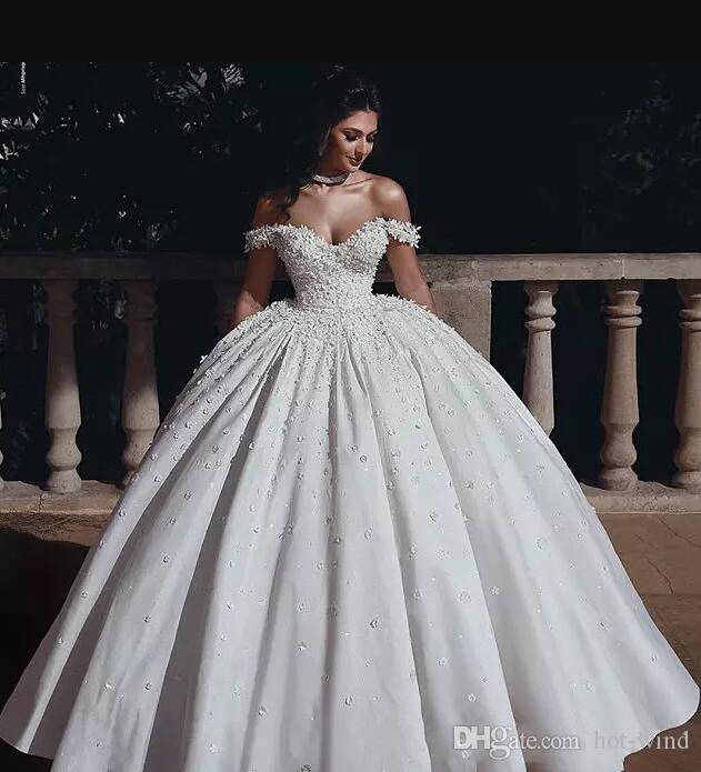 Discount 2019 Said Mhamad Puffy Satin Wedding Dresses Off