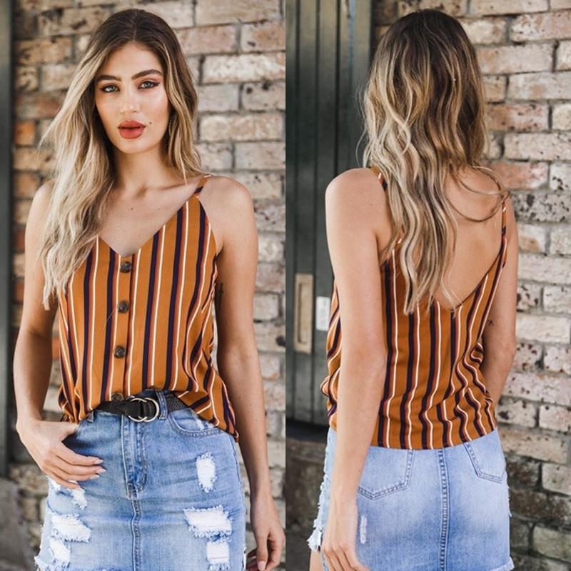 2019 Fashion Style Women Summer Loose Button Sleeveless V Neck Casual Tank  Tops Striped Size S XL Camis 2019 UK 2019 From Bibei02, UK $$22.71