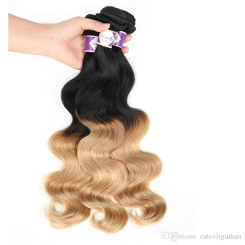 Ombre Hair Weave 3 Bundles Two Tone Black Honey Blonde 1B/27 Ombre Brazilian Cheap Body Wave Human Hair Extensions 10-30 Inch Length