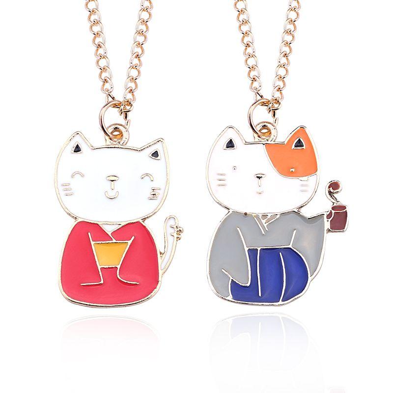 wholesale diy cute kitty necklace kawaii cat pendant cartoon japanese anime choker gold chain unisex lover necklaces pendants dropshipping anchor pendant