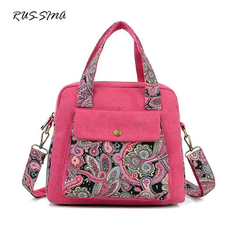 7da4b70f19b9 RUSSMA 2018 Spring New Fashion Women Canvas Handbag National Flower  Shoulder Bag Casual Crossbody Tote Silt Pocket Bolsa YNT0311 Leather Bags  Shoulder Bags ...