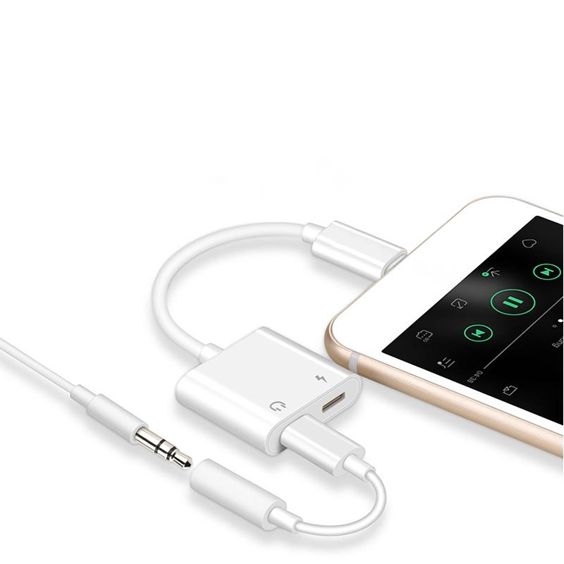 uk availability ab8d4 94c5d 2 in 1 Adapter for Charging Music iPhone 7 8 X Plus Aux Plug Jack Headphone  Splitter Charging and Audio Cable Adaptador