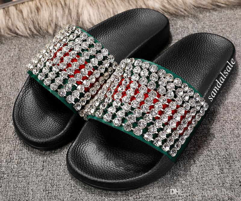 0f3639165e0d8d Fashion Crystals Diamond Embellished Slides Loafers Mens Womens Beach  Causal Rubber Flip Flops Size Euro 35 45 Slippers Rain Boots From  Sandalsale