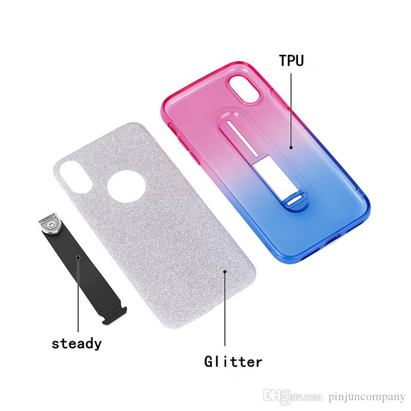 For iphone x 6 7 8 plus Glitter Gradual Two-tone TPU Hidden Stand Drop Protection Phone Case For Samsung Galaxy S9 plus
