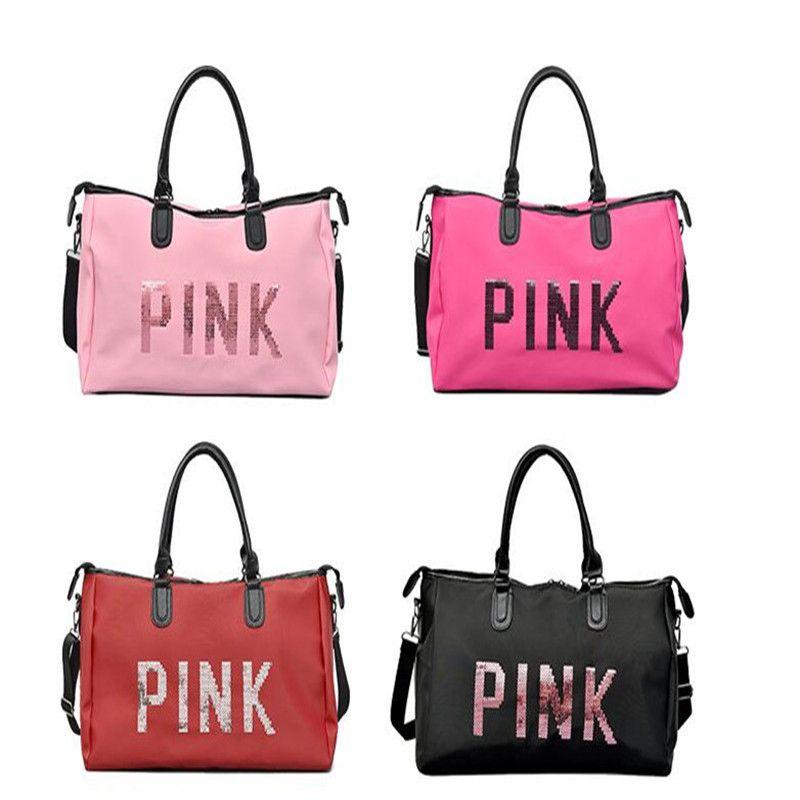 7e175044e07d Pink Sequins Travel Bag Large Capacity Unisex Duffle Handbag Outdoor ...