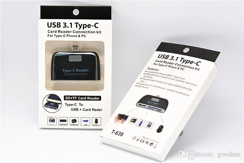 4 In1 USB 3.1 Type C USB-C TF SD 마이크로 SD OTG 카드 리더기 흰색 검정색 Macbook 전화 태블릿