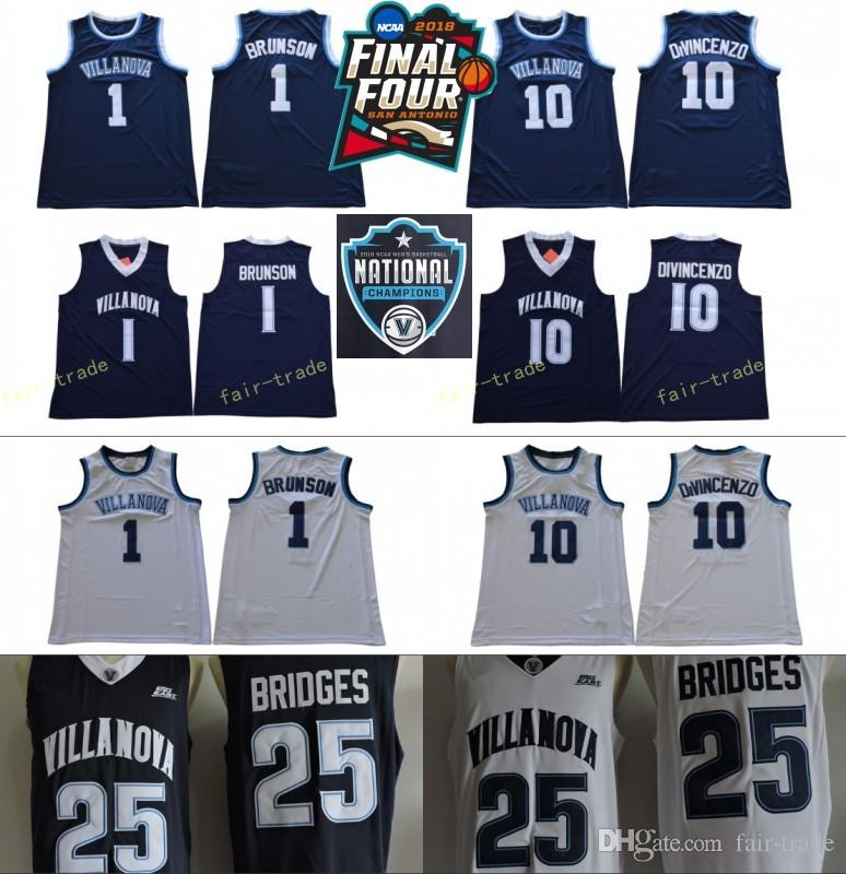 feb2ff08eb24 2019 NCAA Basketball Final Four Villanova Wildcats Jersey 1 Jalen Brunson  10 Donte DiVincenzo 25 Mikal Bridges White Navy Champions RVM Patch Men  From Fair ...