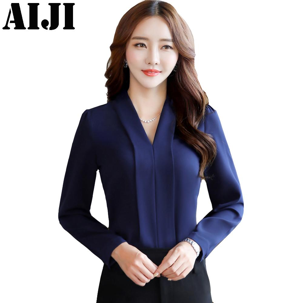 06d466ca 2019 2018 Fashion Sexy Solid V Neck Shirt Women OL Career Temperament  Formal Long Sleeve Chiffon Blouse Office Ladies Plus Size Tops From  Priscille, ...