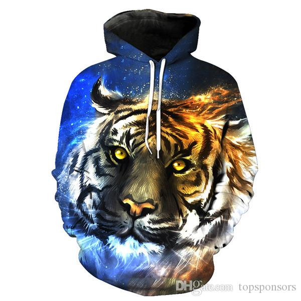 6e1ef3ec4 2019 New Funny Tiger 3D Hoodie Unisex Casual Galaxy Space Animals Print 3D Hooded  Pullover Sweatshirt Male Autumn Winter Tracksuits From Topsponsors, ...