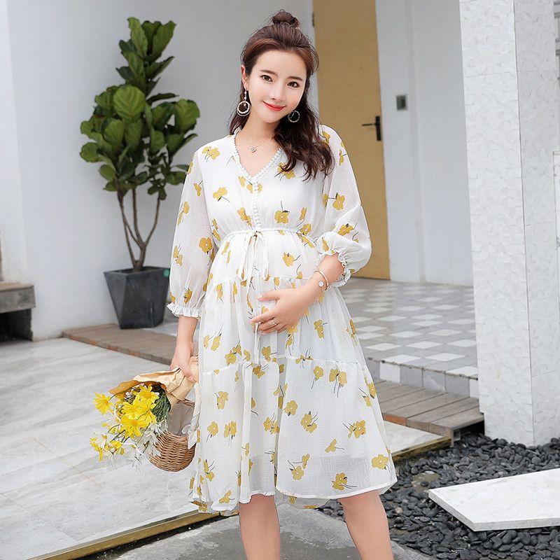 7541d0c8a Compre Corbatas Flores Amarillas Impreso Vestido De Maternidad Verano Otoño  Moda Ropa De Lactancia Para Mujeres Embarazadas Embarazo Ropa A  21.11 Del  ...