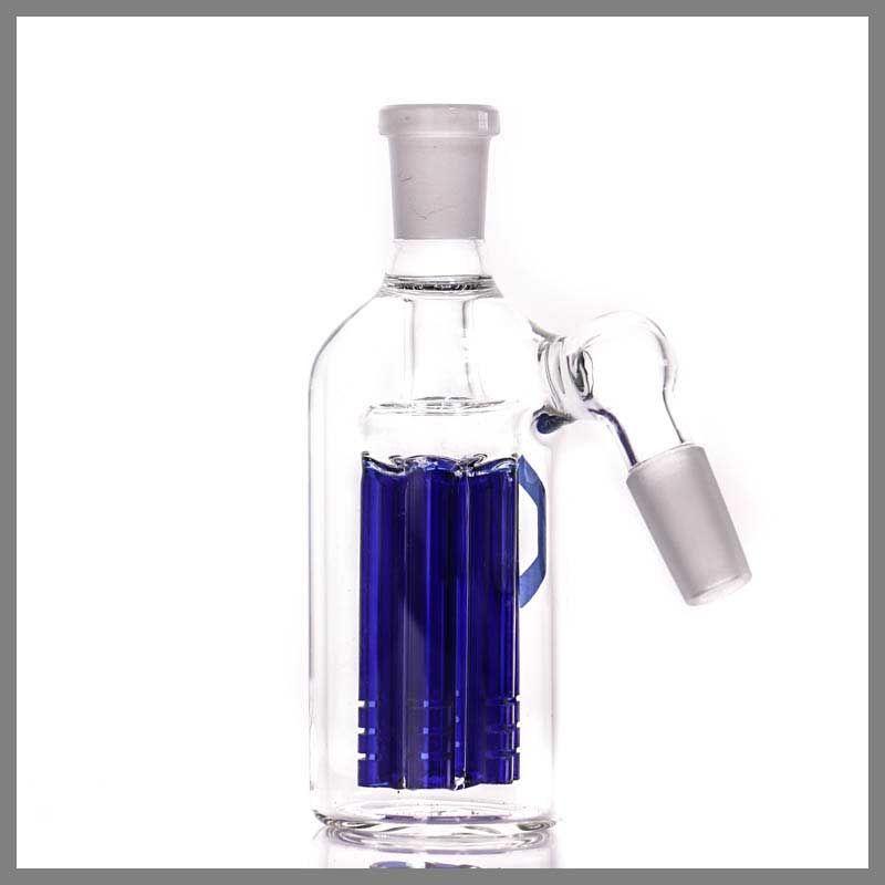 6 bras en verre bongs Ashcatcher nouveau design en gros de haute qualité Ash Catcher 14.5-14.5mm bleu en verre Bong Precooler livraison gratuite