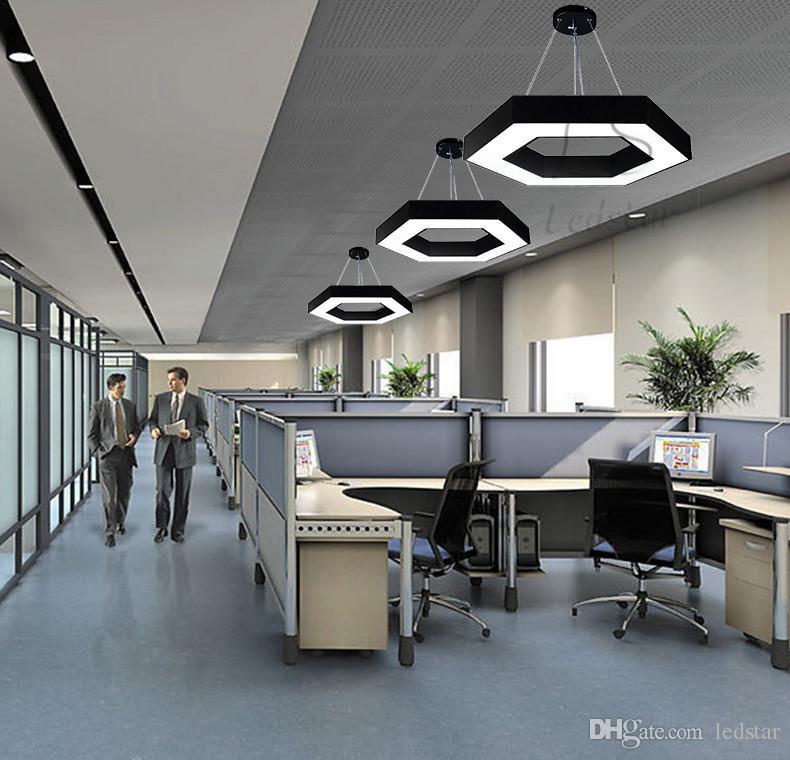 Pendant Led Modern Office Esagono Luce Minimalismo pendente del metallo Infissi Luminaria Lampares Led Hanging sospensione luce della lampada