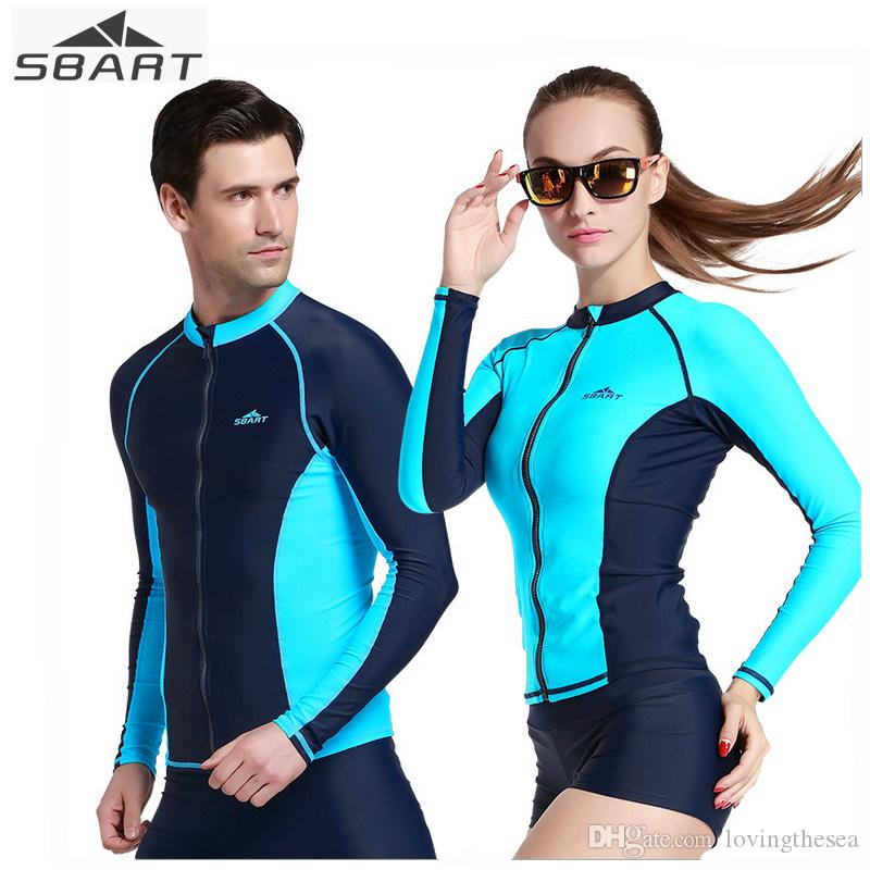 50289fa53713 2019 SBART Swimwear Tops Swimming Shirts For Men Women Sunscreen Quick Dry