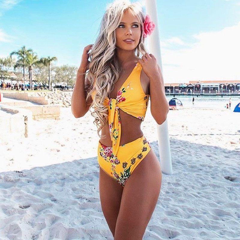 a20010ceb92e7 2018 Sexy Women Swimsuit Print Swimwear Floral High Waist Bikini ...