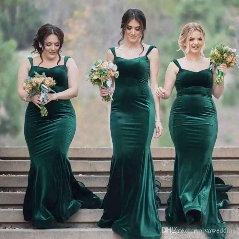 2018 Emerald Green Velvet Bridesmaid Dress Long Mermaid Straps Maids ...
