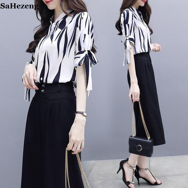 f644a27f56 Compre Dos Piezas Arco A Rayas Sueltas Gasa Blusa Camisas Y Pantalones  Anchos Establecen Elegantes Mujeres 2018 Señoras De La Moda A056 1 A  40.84  Del ...