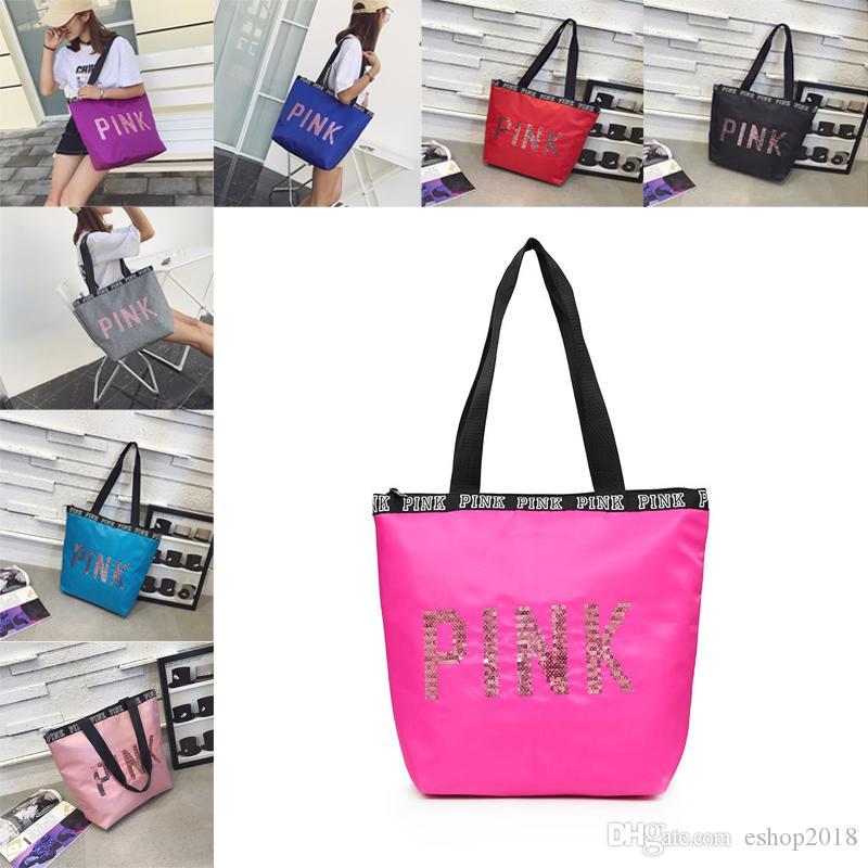 Hot Pink Letter Handbag Women Girls Travel Shopping School Shoulder ... 36801dd250aeb