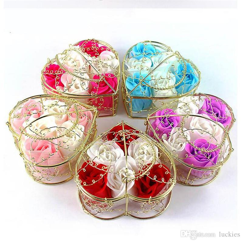Creative Valentines Day Rose Iron Box Packed Handmade Rose Soap Flower Simulation Flower Birthday Party Gifts