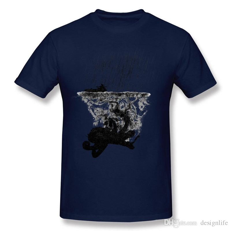 Men Pure cotton Vintage Inktopus Tee Shirt Men Round Collar Navy Blue Shorts Shirt For Sale Plus Size Personality Tee Shirt