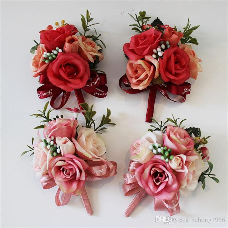 Simulation Artificial Flower Brooch Pin Rose Lace Silk Fashion Groom Groomsman Corsage Flowers Clothing Wedding Decoration 6 8hy UU