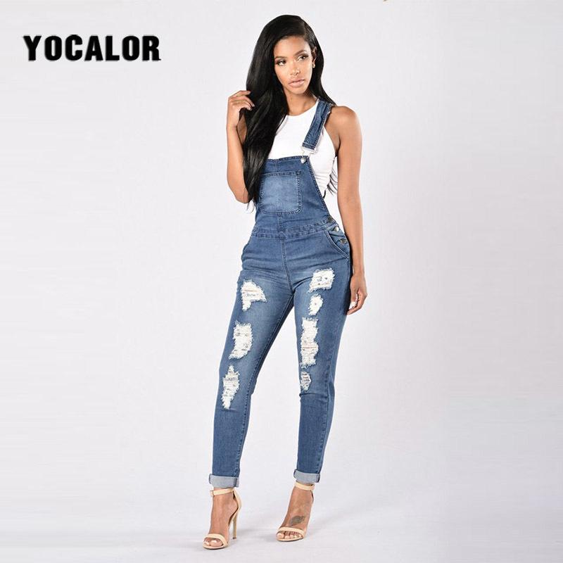 f0e8339c8826 2019 2018 New Holes Cowboy Overalls Plus Size Push Up Women Ripped Jeans  Female For Feminino Woman Denim Pants Mom Palazzo Trousers From  Beautyjewly