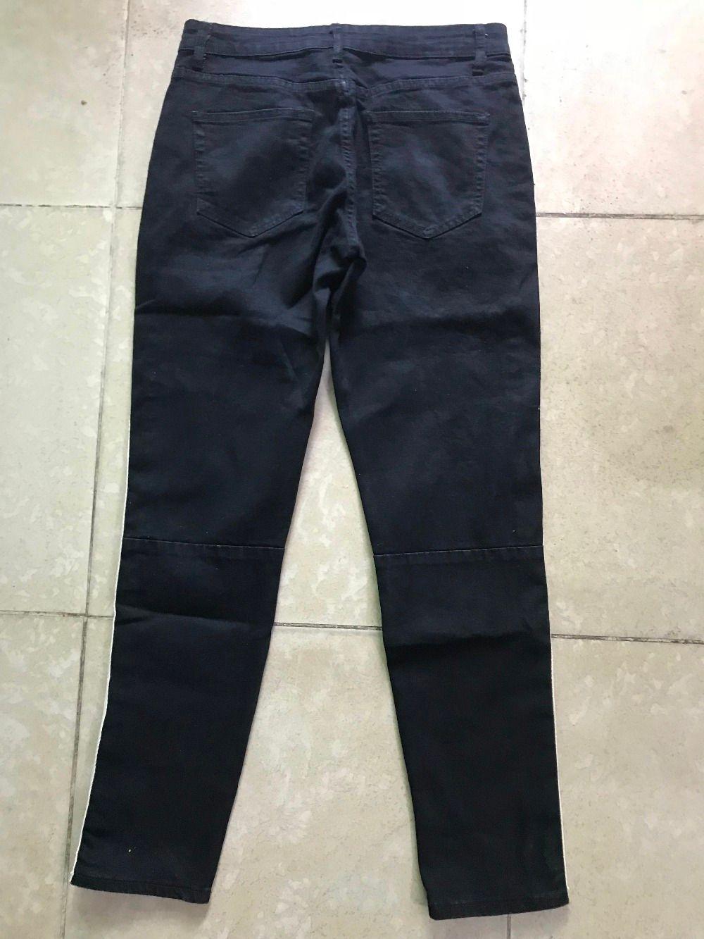 2018 Лучшая версия ретро деним - черный синий мужские джинсы боковая полоса белая полоса шить хип-хоп повседневная уличная джинсы