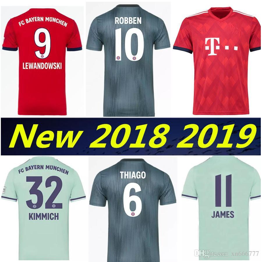 the latest c1c64 7a64e Bayern Munich jersey Thailand 2019 LEWANDOWSKI JAMES VIDAL GOTZE home away  Third soccer jerseys 18 19 MULLER ROBBEN football kit shirt