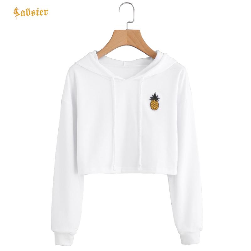 421d16e8357 2019 2018 New Long Sleeve Loose Short Hoodies Crop Tops Pineapple Embroidery  Casual Outwear Pullover Sweatshirts Ropa Mujer XZ156 From Cfendou, ...