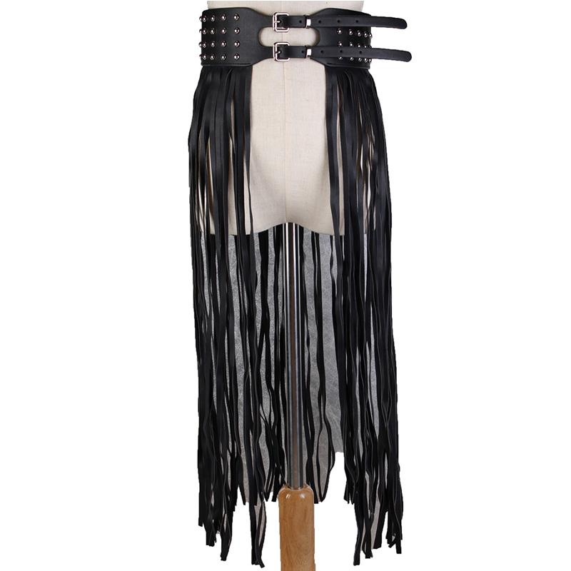 08a702866f Sexy Long Tassel Rivet PU Leather Black Waist Belt For Women Pin Buckle  Corset Belt Ladies Waist Support Punk Fringe Waistband Red Belt Fan Belt  From ...