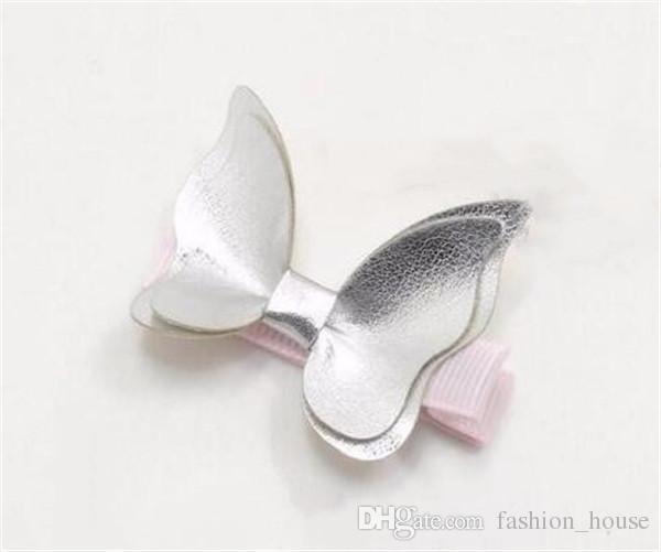 Baby Haarspangen Schmetterling PU Leder Haarspangen Mädchen Bogen Haar Zubehör Baby Geschenke Mode Hotsale Boutique 2017 Großhandel Pink A08