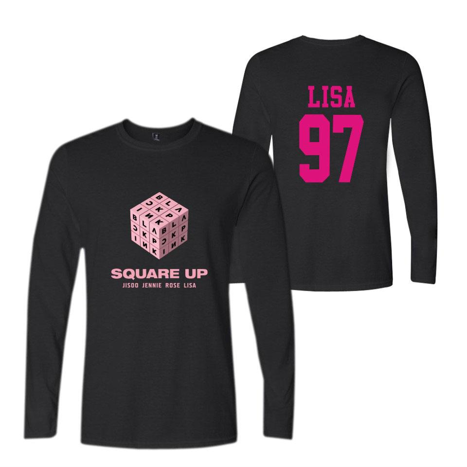 BLACKPINK SQUARE UP Rubik's Cube Men/Women Long Sleeves O-Neck T Shirts Couples Clothing K-pop Hip Hop Harajuku T-Shirt Tops