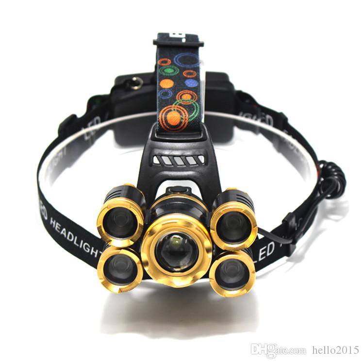 15000 lumens rechargeable led headlamp 3T6 5T6 head flashlight cree xml t6 head lamp waterproof lights headlight 18650 battery