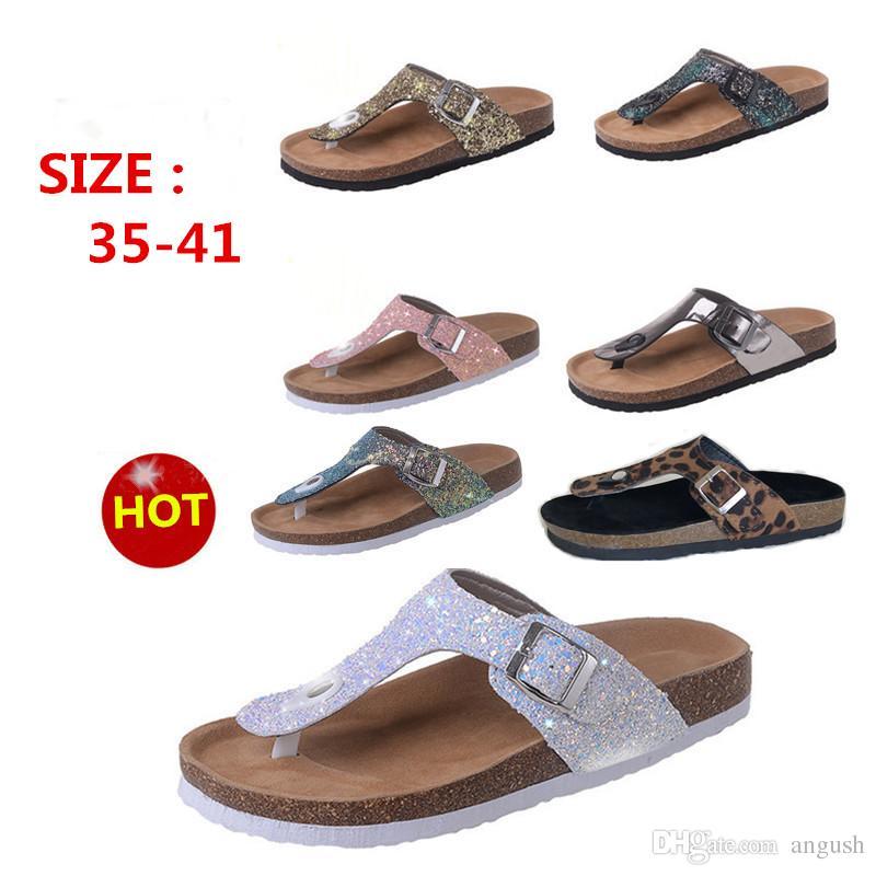 8ce438196 ANGUSH Large Size Summer New Style Women Slippers Europe   America Flat  With Rhinestone Sandals Feminine Open Toe Flip Flops Sandals Acorn Slippers  Ballet ...