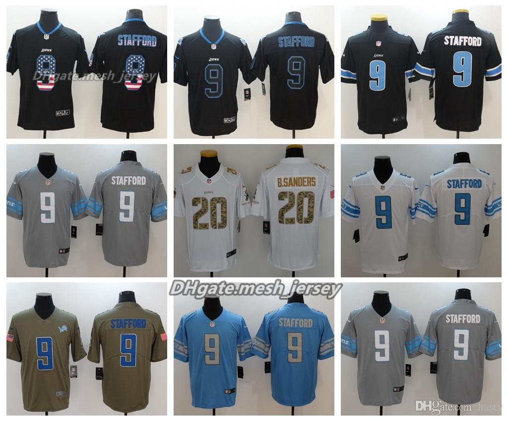 the latest 1ee1e 42eb5 Men Detroit Jersey Lions 9 Matthew Stafford 20 Barry Sanders Color Rush  Football Stitching Jerseys Embroidery Logo Gray Black White Blue