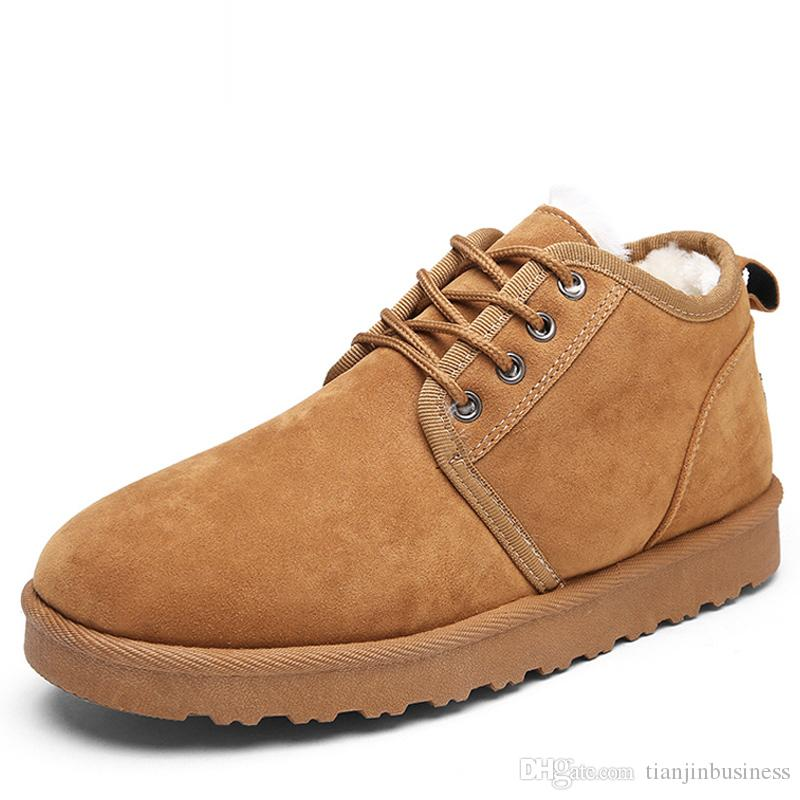 Compre 2018 Zapatos De Invierno De Gamuza Sintética Para Hombre Botas De  Nieve Pisos Impermeables Hombres De Invierno Cálido Botines Zapatos De Moda  A ... 1f5f825bacb89