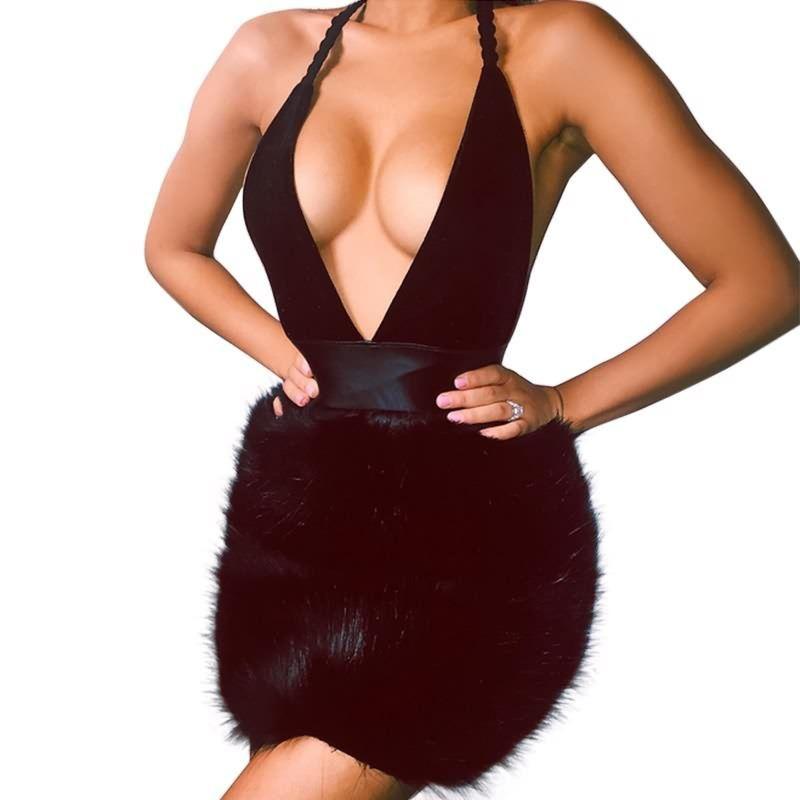 e21c9f59f1 Women Sexy Deep V Neck Halter Fur Dress Black Backless Mini Dress Winter  Vintage Sleeveless Party Dresses Evening Gown Floral Dress From Weikelai