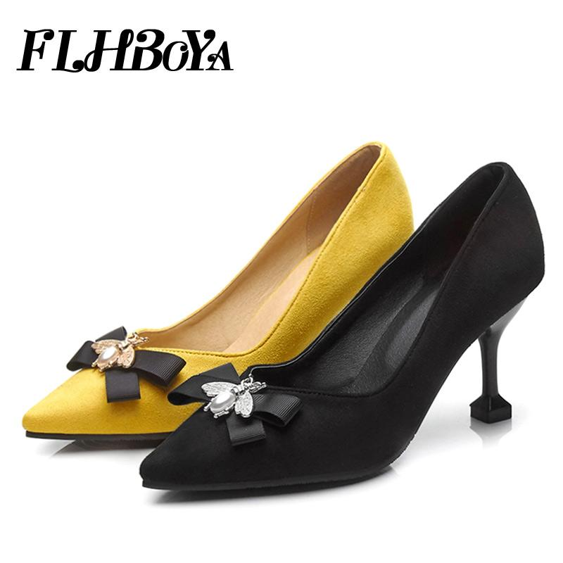New Women Thin High Heels Pumps Autumn 2018 Yellow Black High Heels Pointed  Toe Bowtie Woman Shoes Pumps For Ladies Plus Size 46 Online Clothes  Shopping ... b02b9f4d1