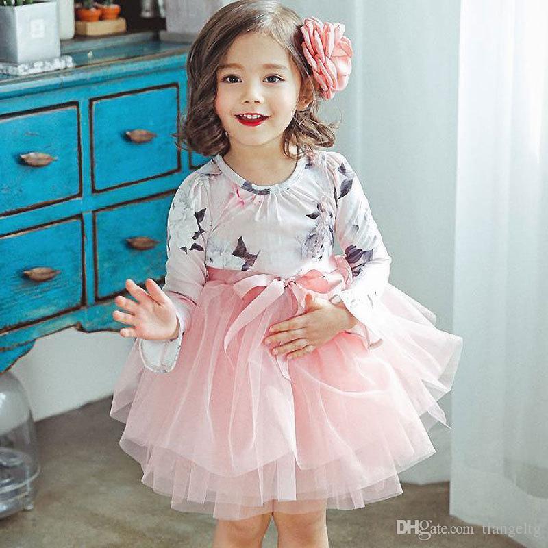 Robe imprimée florale pour filles avec col rond et manches longues avec nœud floral et robe TUTU pour fille, filée gonflée, princesse, jupe 2-6T