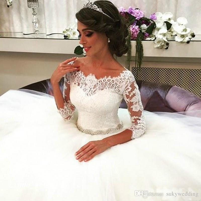 5ec8954d147 Elegant White Lace Ball Gown Wedding Dresses Crystal Beaded Tulle ...