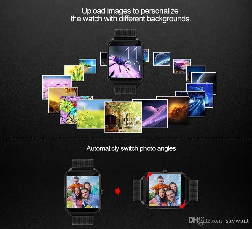 Z60 الفولاذ المقاوم للصدأ بلوتوث الذكية ووتش الهاتف GT09 دعم SIM TF بطاقة كاميرا للياقة البدنية المقتفي ساعة ذكية لIOS الروبوت