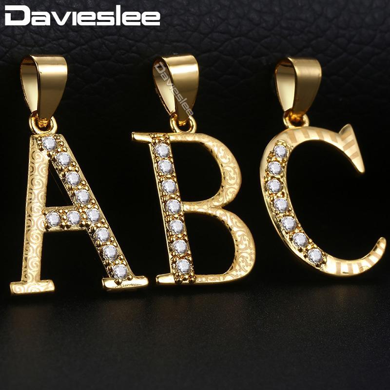 5446c3850211 Compre Letra Inicial A Z Colgante Collares Para Mujer Oro Amarillo Relleno  Collar De Mujer Pavimentada Diamantes De Imitación Clara Joyería De Moda  LGPM20 A ...