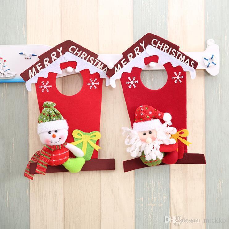 Coole Frohe Weihnachten Weihnachtsmann Schneemann Haus Design Türschild Home Store Hotel Vlies Weihnachten Türhänger Dekorationen
