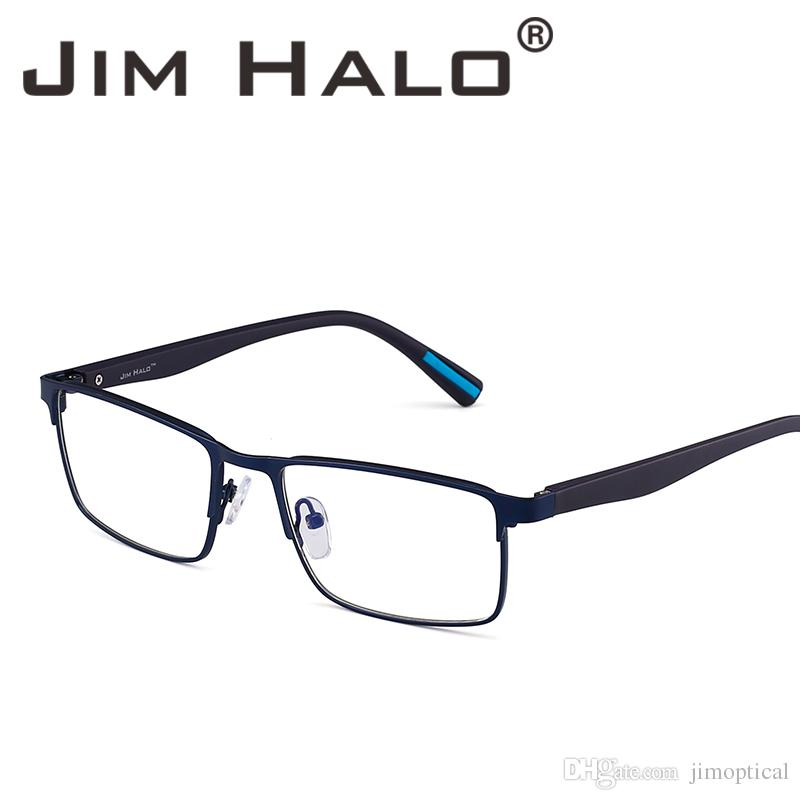 c6bb451cbe 2019 Jim Halo Retro Optical Rectangle Metal Frame Lightweight Spring Hinge Non  Prescription Clear Lens Glasses Men Women Eyeglasses From Jimoptical