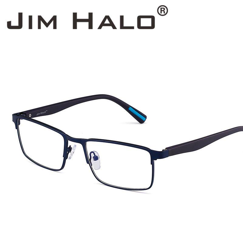 be92f19f8790d Jim Halo Retro Optical Rectangle Metal Frame Lightweight Spring ...