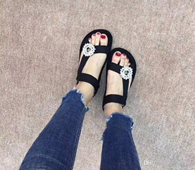 Women summer sandals Top quality Boutique noble luxury Cloth diamond buckle soft fashion brand flat sexy Nightclub Girl casual sandals