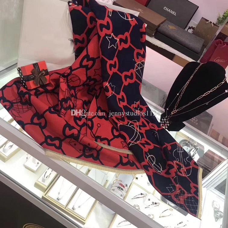 2018 recién llegado Caliente Caliente Marca Bufanda de Invierno Mujeres Bufanda de Lana Moda Mujeres Diseñador Bufandas Calientes elegante dos colores mujeres