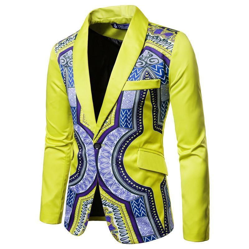 2ef402c47c Compre Dashiki Africano Imprimir Traje Blazer Hombres 2018 Nuevo Chaqueta  De Traje De Un Solo Pecho Hombres Casual Boda Vestido De Fiesta Blazers Para  A ...